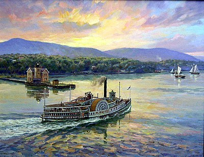 Steamboat M.Martin Paddling Up the Hudson by William Muller