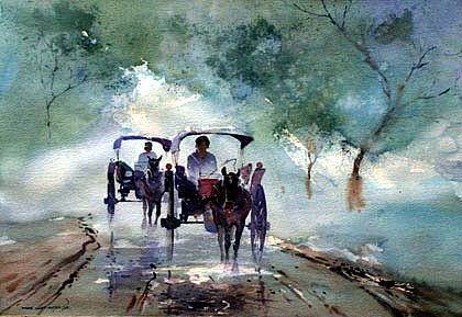 Horsecarts In The Rain by Myoe Win Aung