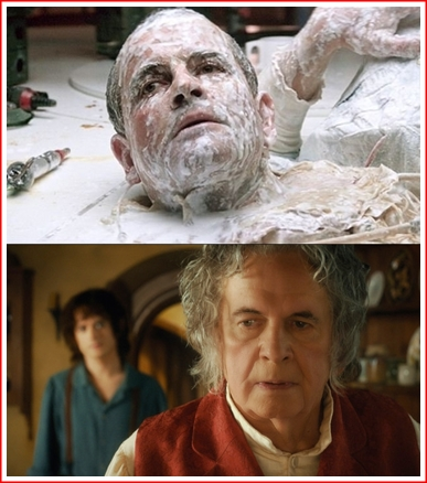 Ian Holm as Ash (top) and Bilbo Baggins (bottom). He looks sp much better when he's altogether.