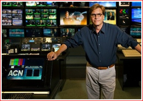 Is Sorkin getting ready for a group hug, about to bob or weave to his left or right in a ducking fashion. or is he preparing to take a bow?
