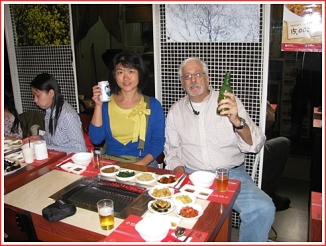 That's Yu Ling, me, the side-s=dishes, and they Tsingtao