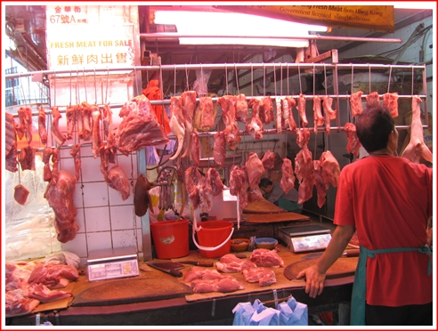 A Butcher shop on the wet aisle to the left