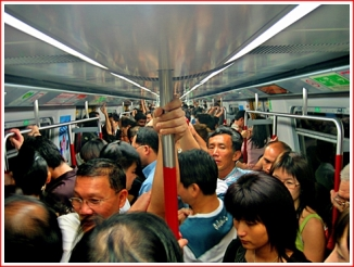 The early evening rush hour on the MTR