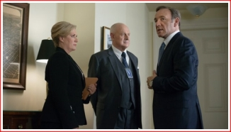 (l to r) - Secretary of State Catherine Durant, Raymond Tusk, and Frank Underwood