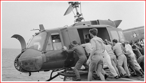 American copters lent to the ARVN landed and disgorged refugees, but then the helos had to be pushed overboard, so more of them could come in and land.