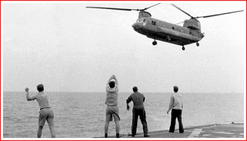 Out at sea, this helicopter was being waved off as it was too big for the it wanted to land on. Out of fuel - people leaped from the chopper into the sea.