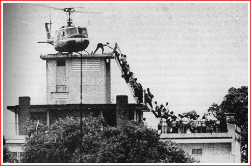 A famous photo - but this was not the roof of the US Embassy. Instead it was a CIA instillation in Saigon.