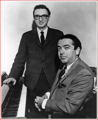 Sheldon Harnick (standing) and Jerry Bock (at the keyboard) back in the day