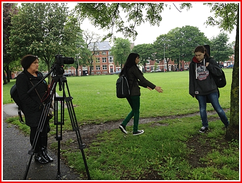 Director Meera Darji instructs her actress, Sophie Heath-Taylor about her movements in the shot.