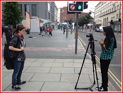 Meera on location with the actress Sophie Heath-Taylor