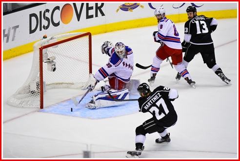This is the shot by Alec Martinez that is on its edge, just inches from becoming the goal that ends the NHL Hockey season. Lundqvist