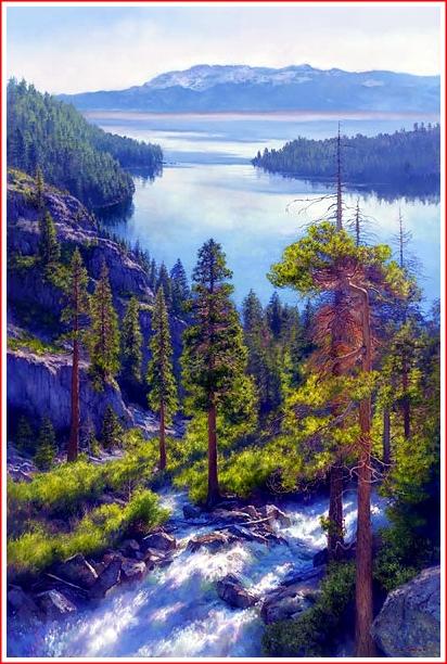 Cascading Light, Emerald Bay, Lake Tahoe by June Carey