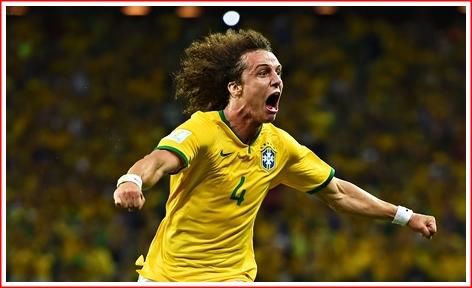 David Luiz of Brazil just after scoring the decisive goal