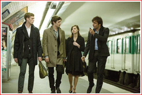 l to r: Hal, Jimmy, Aubrey, and Sandro in the Paris Metro. They're heading for the pary at Fritz's place.