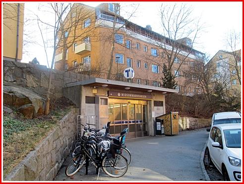 The Midsommerkransen T-Bana exit on Tellebruksvagen