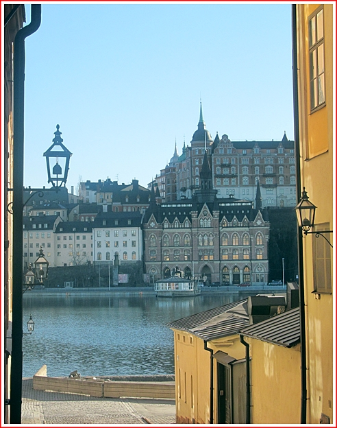This is my own photo taken looking through an alley in Gamla Stan. Check out the photo on Rick Steve's book below,