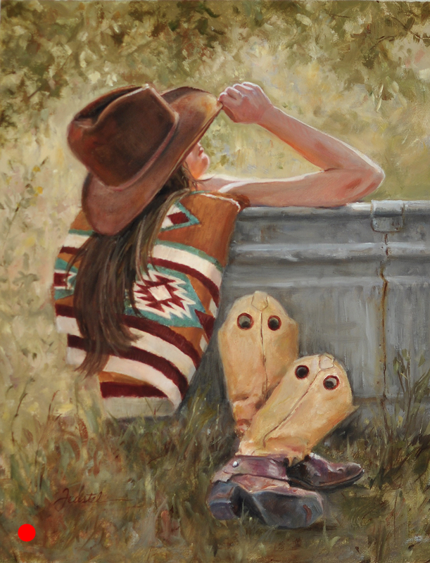 Evening Soak by Cynthia Feustel. That's three painting, and in all three, these women are never without their hats.
